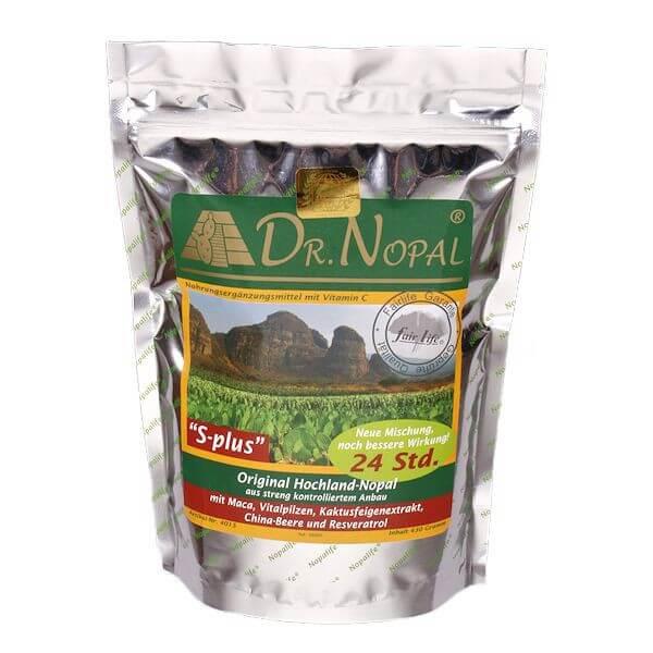 Dr. Nopal S-plus 430g original Hochland-Nopal Kaktuspulver mit Maca, Vitalpilzen, Kaktusfeigenextrakt, China-Beere und Resveratrol. Ideal zur gesunden Gewichtsreduktion und Gewichtskontrolle